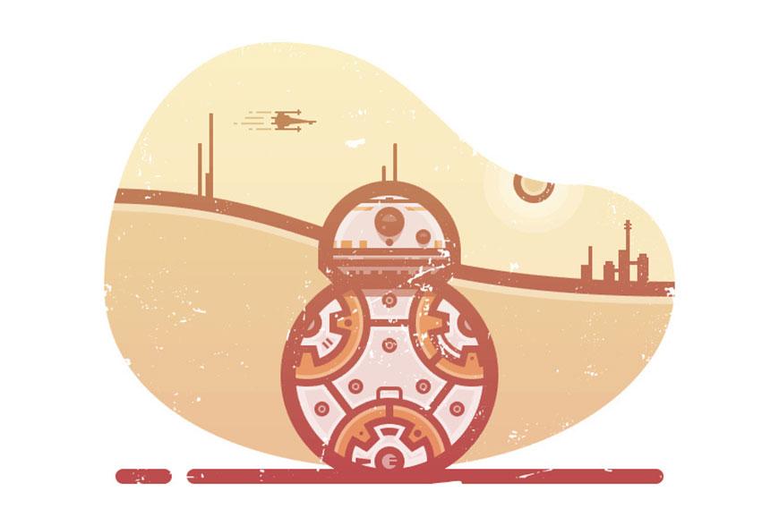 使用Illustrator绘制星球大战电影中的复古机器人