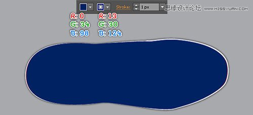 Illustrator绘制蓝色逼真的运动鞋效果图设计教程