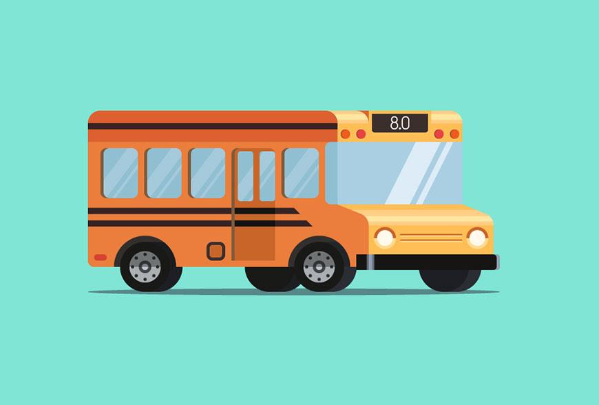Illustrator绘制扁平化风格的小清晰主题风格的巴士汽车