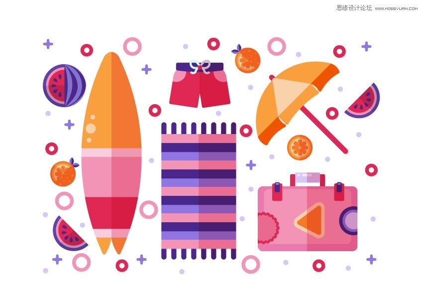 Illustrator图标设计教程,绘制扁平化风格的夏季主题图标