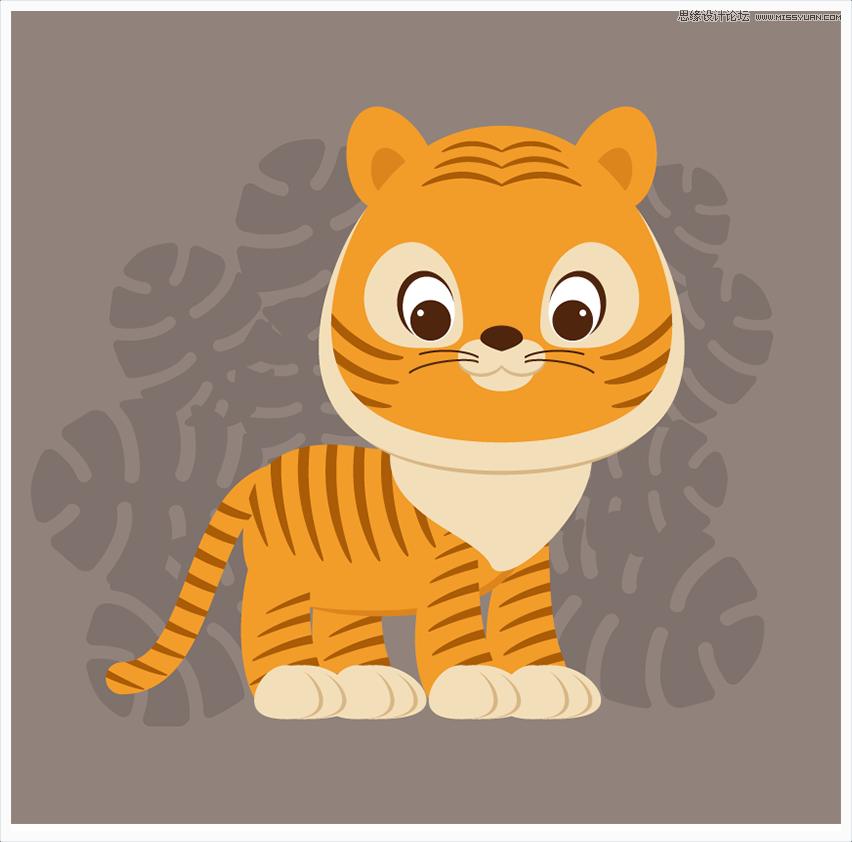 Illustrator绘制卡通可爱的小老虎插图设计教程