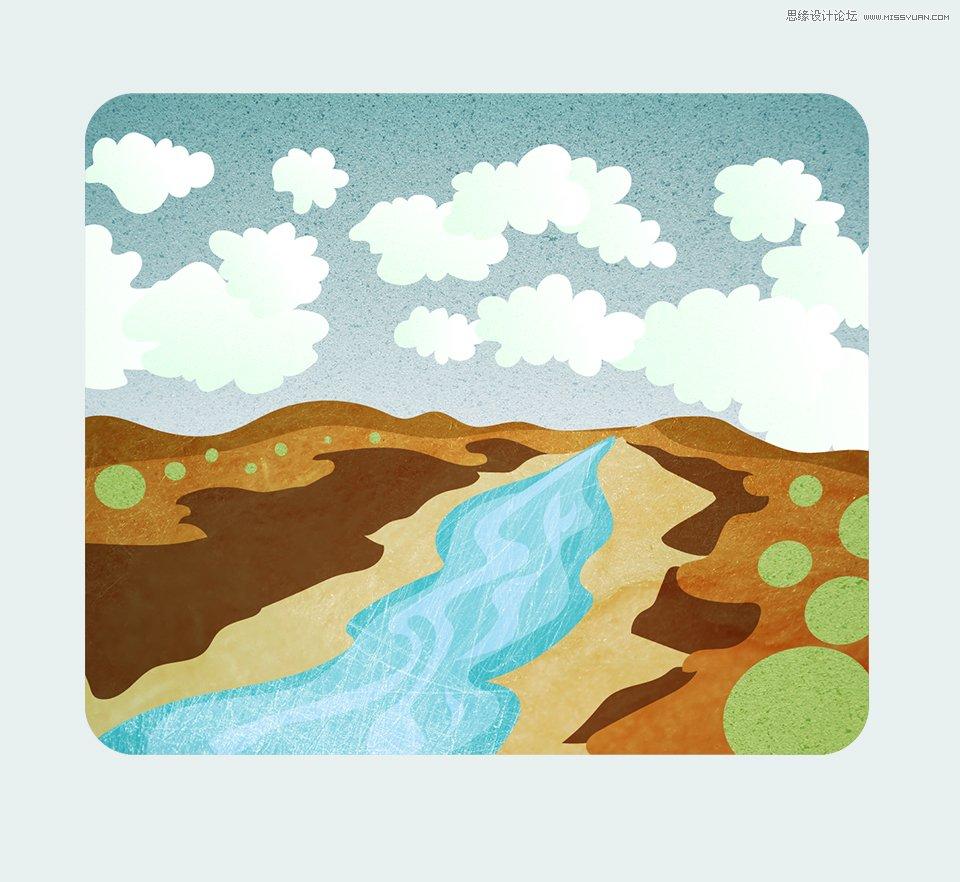 Illustrator绘制外景朴素的山谷小溪效果图