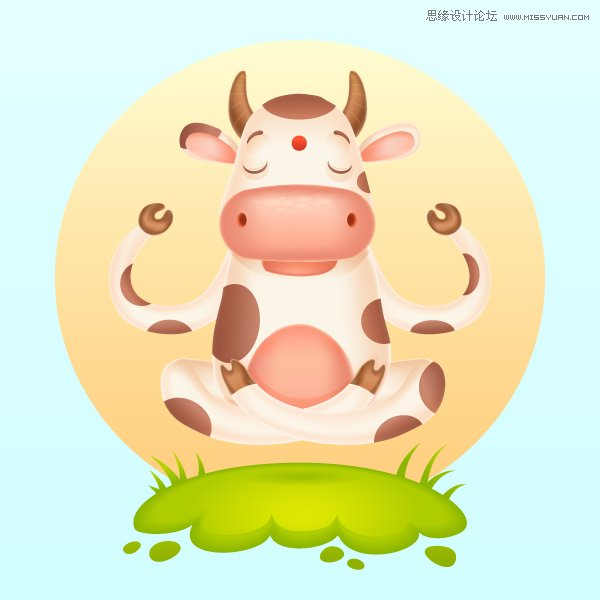 Illustrator网格工具绘制可爱的插画奶牛效果图
