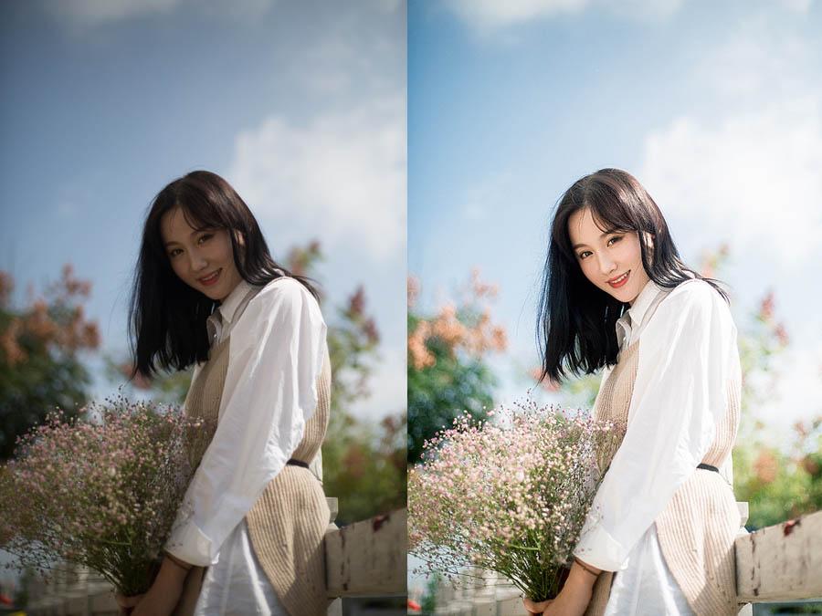 Photoshop调色调出清新甜美肤色的外景美女人像照片
