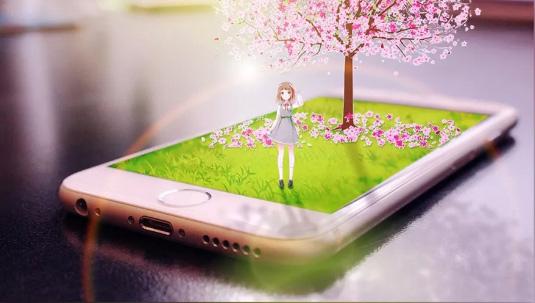 Photoshop合成手机上的微距卡通少女