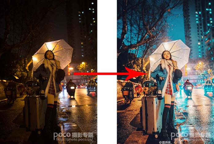 用PS修复夜景曝光不足的美女人像照片