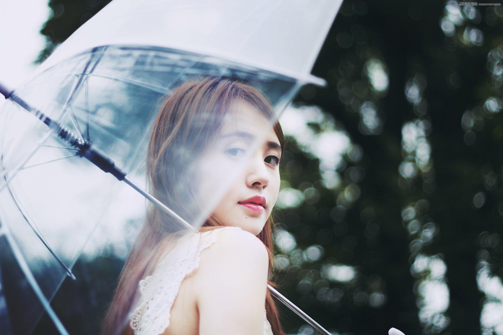 清新照片,PS调出清新艺术效果的外景雨季人像照片
