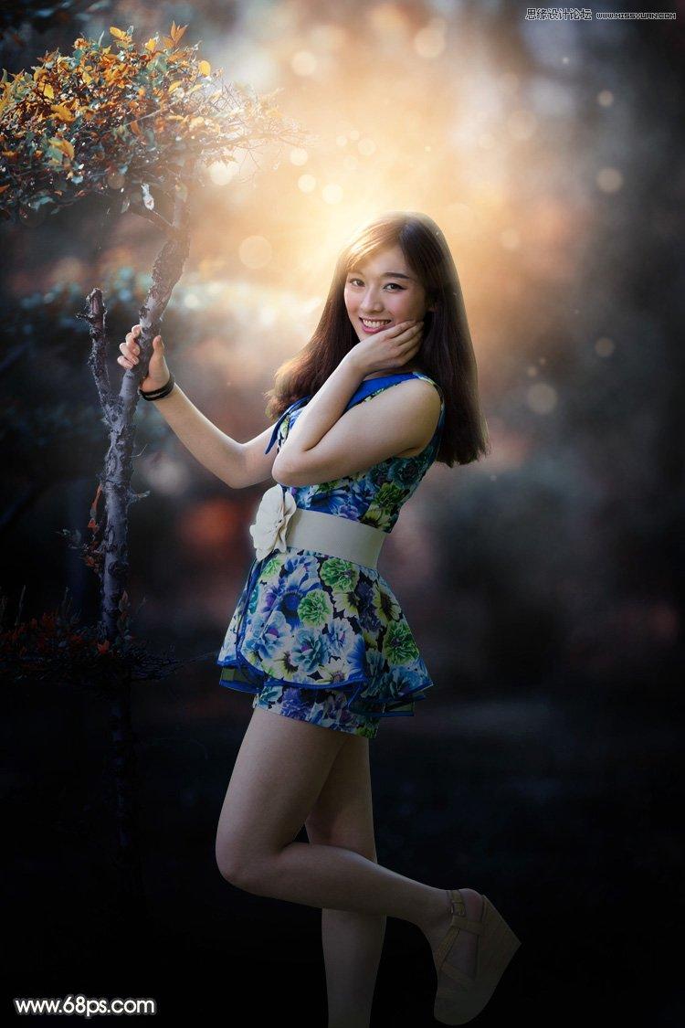 照片调色,PS调出树下梦幻逆光效果的美女照片