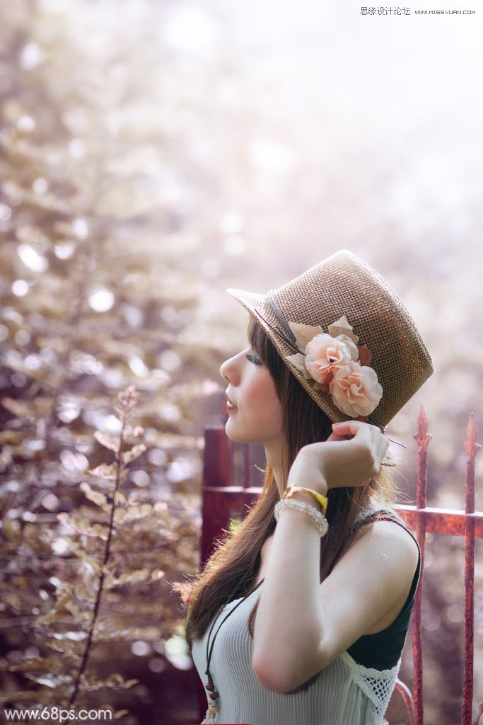 PS调色调出甜美逆光艺术效果的外景人像照片